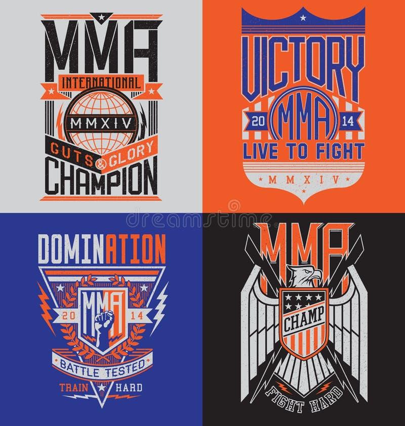 MMA koszulki projekta emblemata set ilustracja wektor
