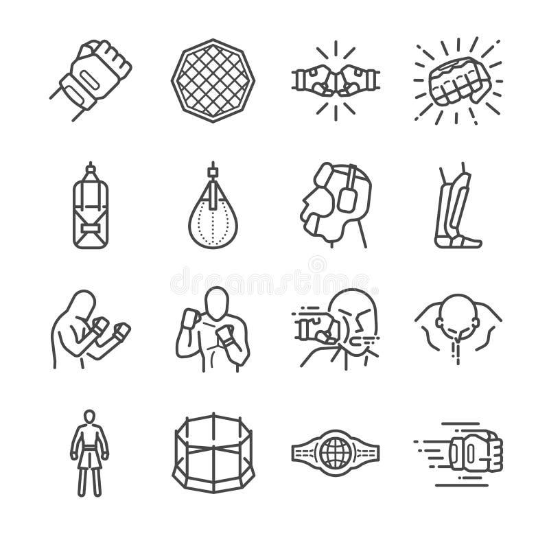 MMA: Mixed Martial Arts icon set stock illustration