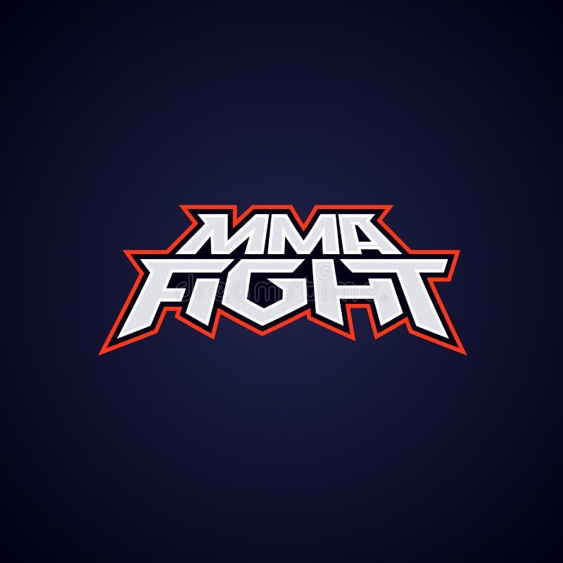 MMA-strijdembleem Gemengde vechtsportenvector logotype Het embleemmalplaatje van de mengelingsstrijd royalty-vrije illustratie