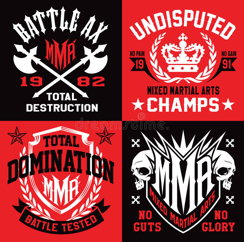 MMA style emblem graphics vector illustration