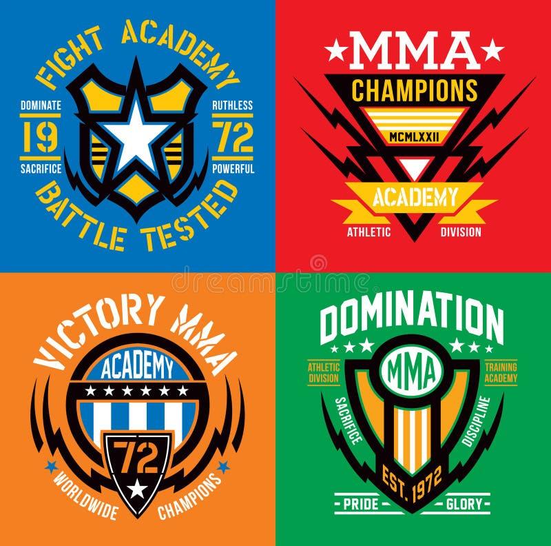MMA walczą akademia emblemata grafika royalty ilustracja