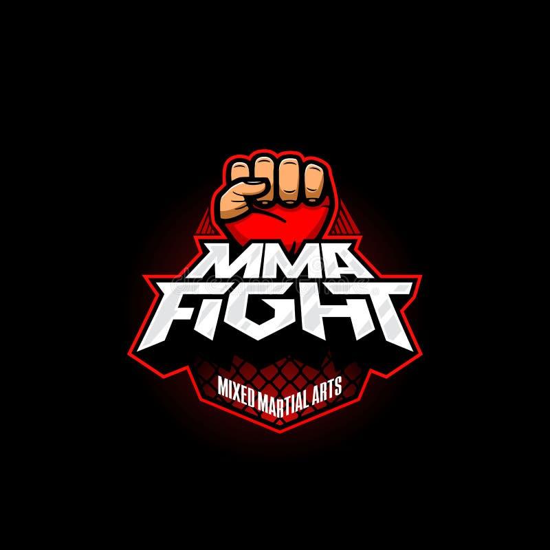 MMA walczą loga Mieszany sztuka samoobrony wektoru logotyp Mieszanki walki loga szablon royalty ilustracja