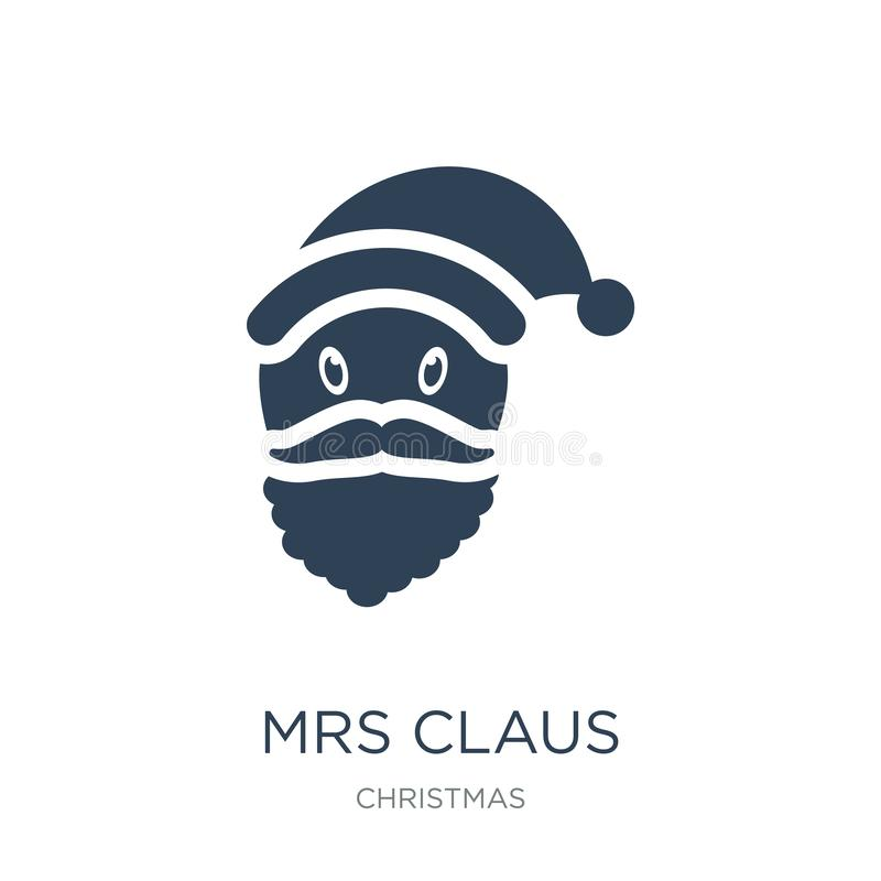 Mme Claus icon dans le style à la mode de conception Mme Claus icon a isolé sur le fond blanc Mme Claus vector appartement simple illustration stock