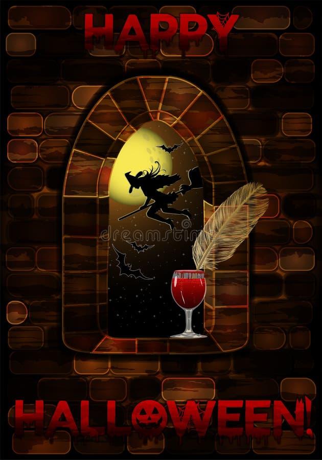 MMedieval okno w kasztelu z krwionośnym szkłem szczęśliwy karciany Halloween ilustracji