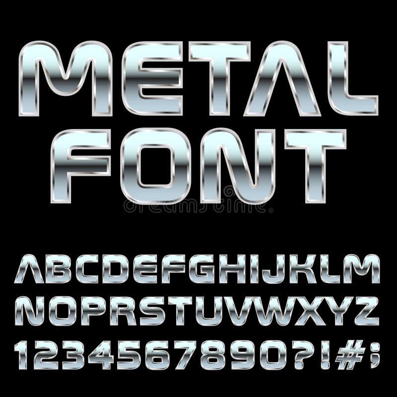 Mmetal-Artbuchstaben und -symbole stock abbildung