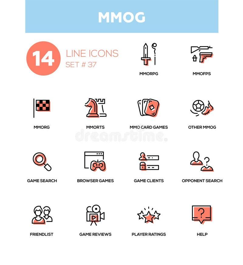 MMOG -现代传染媒介个别线路被设置的象 库存例证
