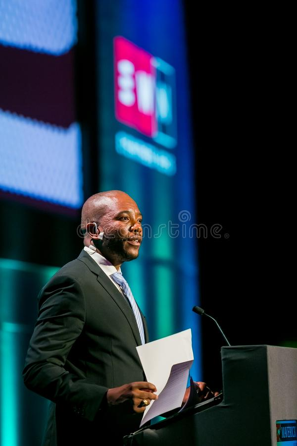 Mmusi Maimane ο ηγέτης της δημοκρατικής συμμαχίας DA στοκ φωτογραφία