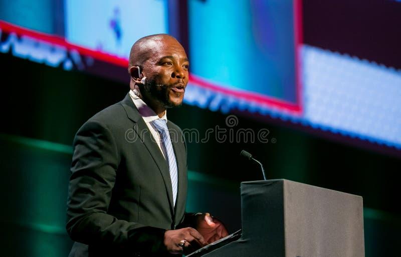 Mmusi Maimane ledaren av DAEN demokratiska Alliance royaltyfri fotografi