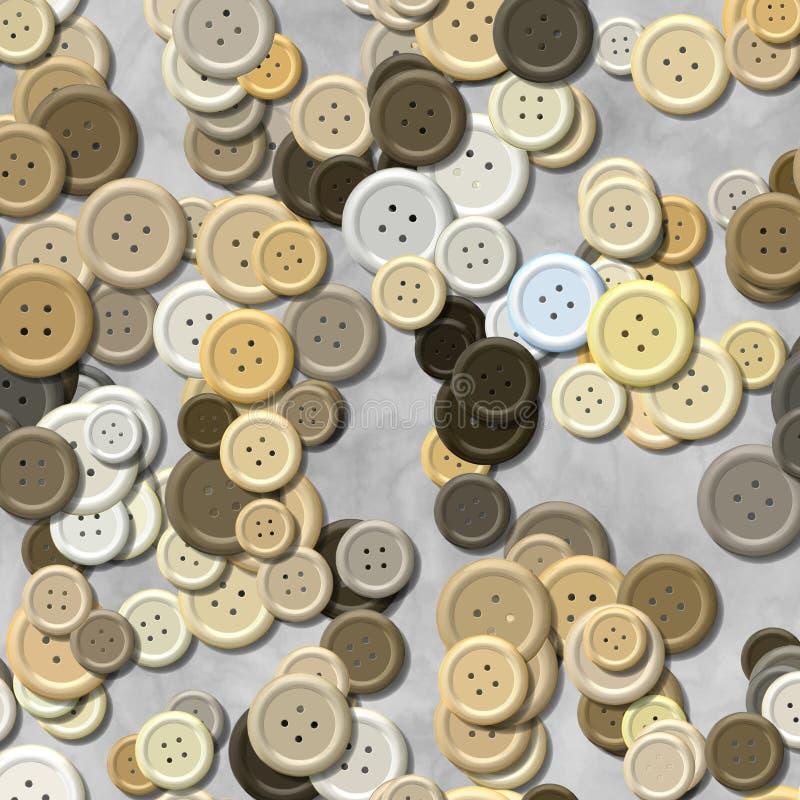 Mnóstwo beżowego wielo- barwionego rocznika klingerytu ubraniowi guziki przypadkowo rozpraszali na szarym tle - odgórny widok royalty ilustracja