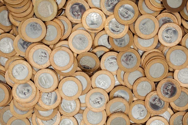 Mnóstwo brazylijskie monety obraz royalty free