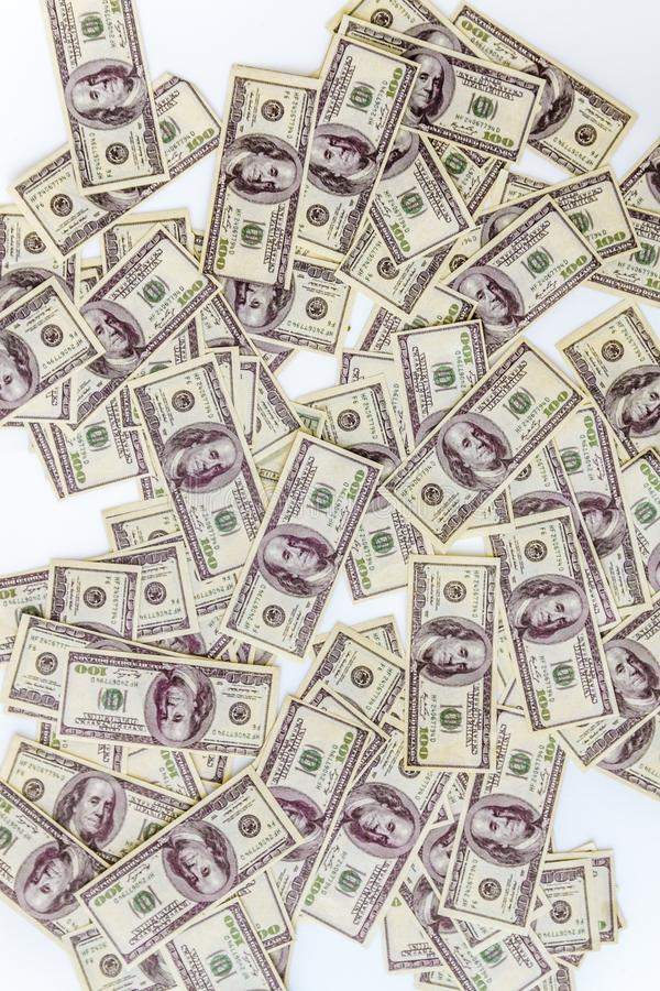 mnóstwo dolarów banknoty na białym tle, odgórny widok fotografia stock