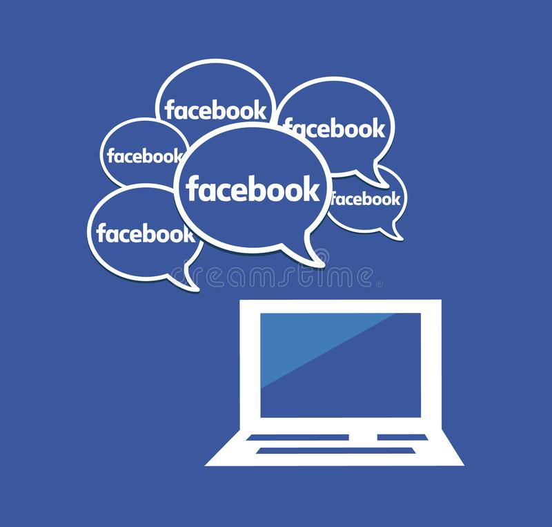 Mnóstwo Facebook mowy bąble Ogólnospołeczni środki i networking ilustracji