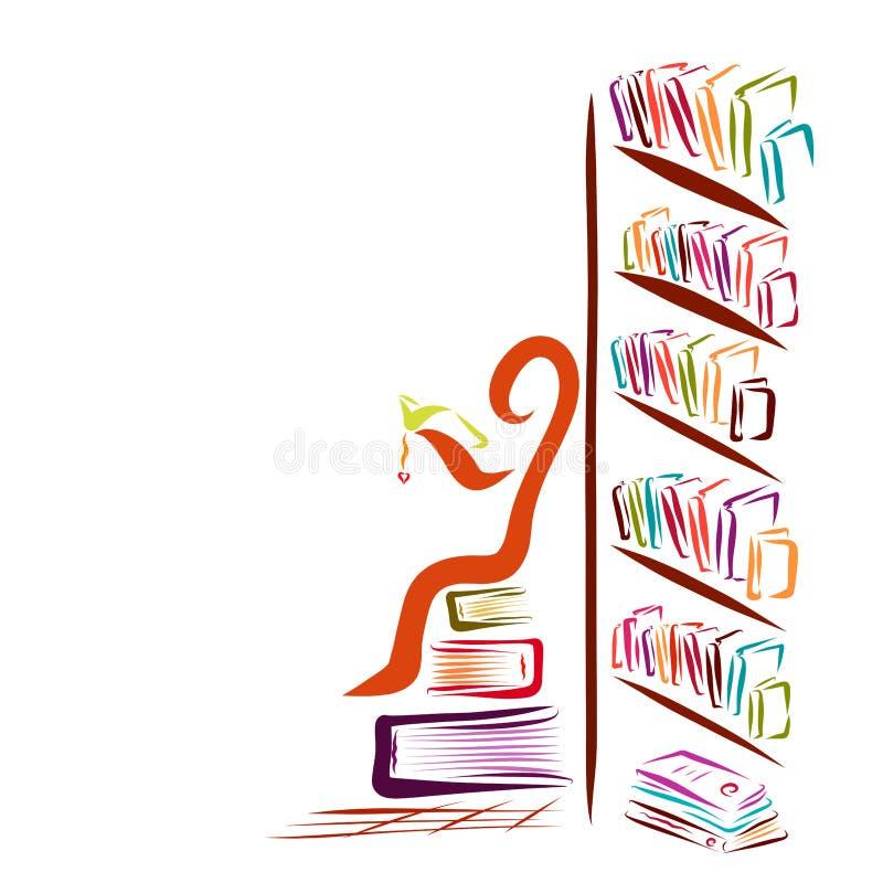 Mnóstwo książki i abstrakcjonistyczny mężczyzna czyta książkę ilustracja wektor