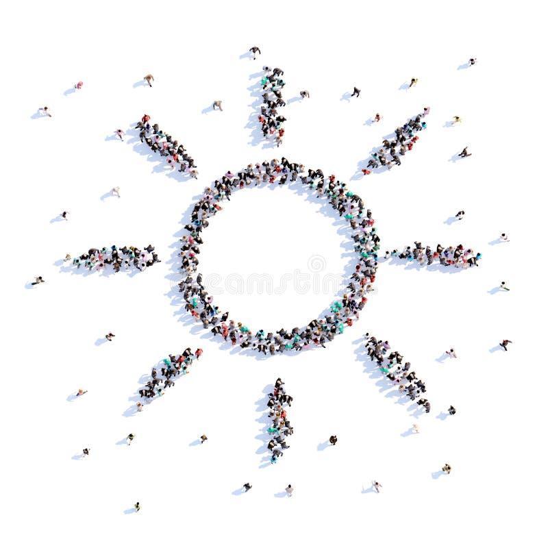 Mnóstwo ludzie tworzą słońce, trekking, ikona świadczenia 3 d zdjęcie royalty free