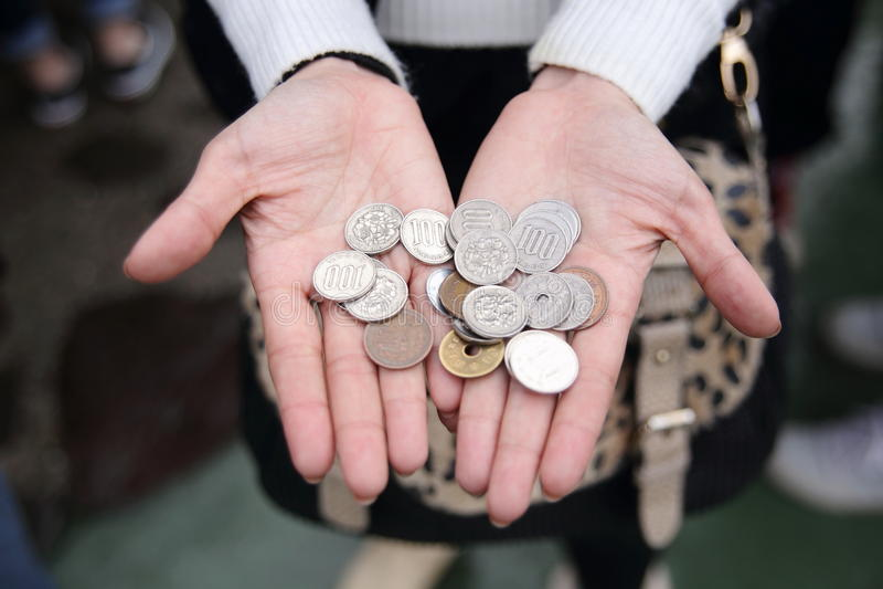 Mnóstwo monety, waluta Japonia zdjęcia royalty free