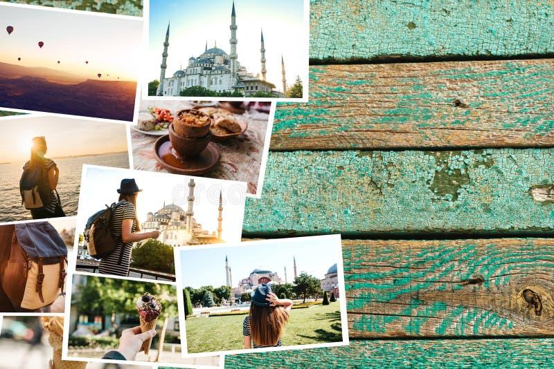 Mnóstwo obrazki na drewnianej powierzchni Podróżuje wspominki Turcja wliczając Istanbuł i Cappadocia Obok fotografii zdjęcia royalty free