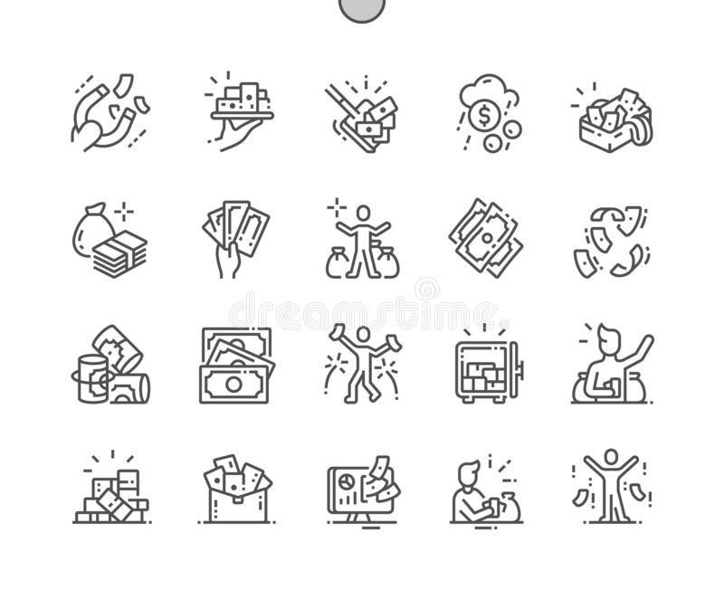 Mnóstwo pieniądze Wykonywać ręcznie piksel Doskonalić wektor Cienkie Kreskowe ikony ilustracja wektor