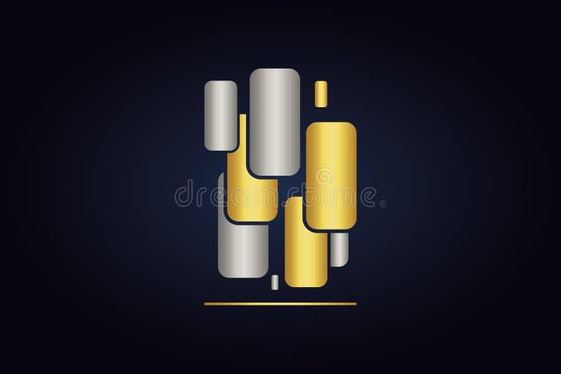 Mnóstwo zaokrągleni ractangles Abstraktów kształty w srebnych i złotych kolorach ilustracji