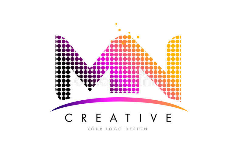 MN M N Letter Logo Design with Magenta Dots and Swoosh. MN M N Dots Letter Logo Design with Magenta Bubble Circles and Swoosh stock illustration