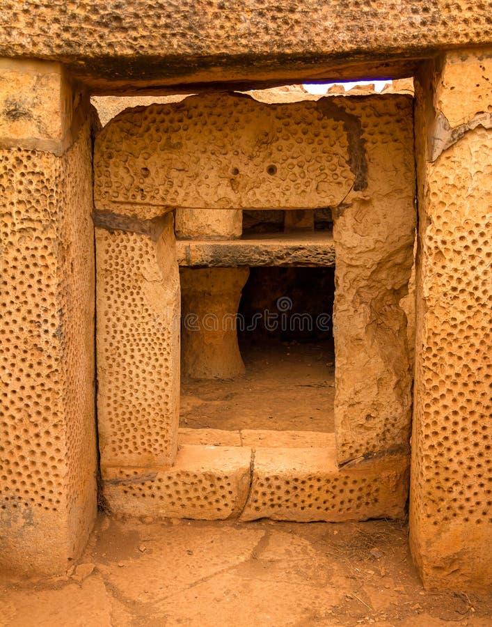 Mnajdra świątyni drzwi zdjęcie royalty free