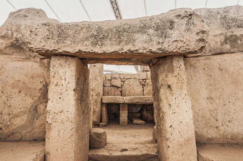 Mnajdra megalithic temple in Malta royalty free stock images