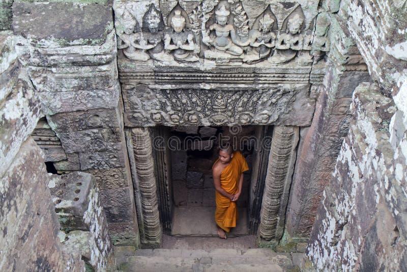 Mnich buddyjski, Buaphon świątynia, Angkor Wat, Kambodża obraz stock