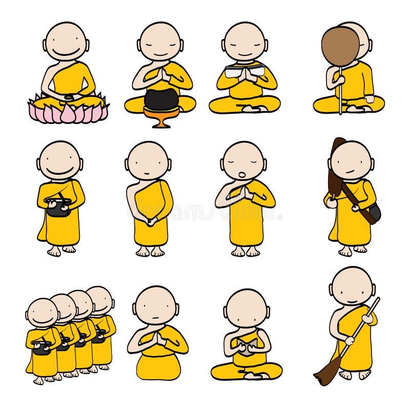 Mnich Buddyjski kreskówka ilustracja wektor