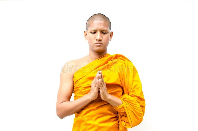 Mnich buddyjski, mnich buddyjski daje egzorcie peop zdjęcie stock