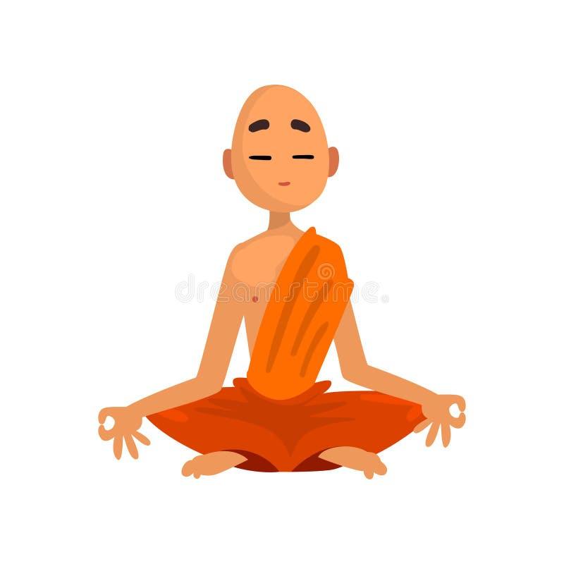 Mnich buddyjski postać z kreskówki medytuje w pomarańczowego kontuszu wektorowej ilustracji na białym tle ilustracja wektor