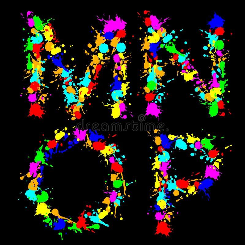 mnop падения цвета алфавита иллюстрация вектора