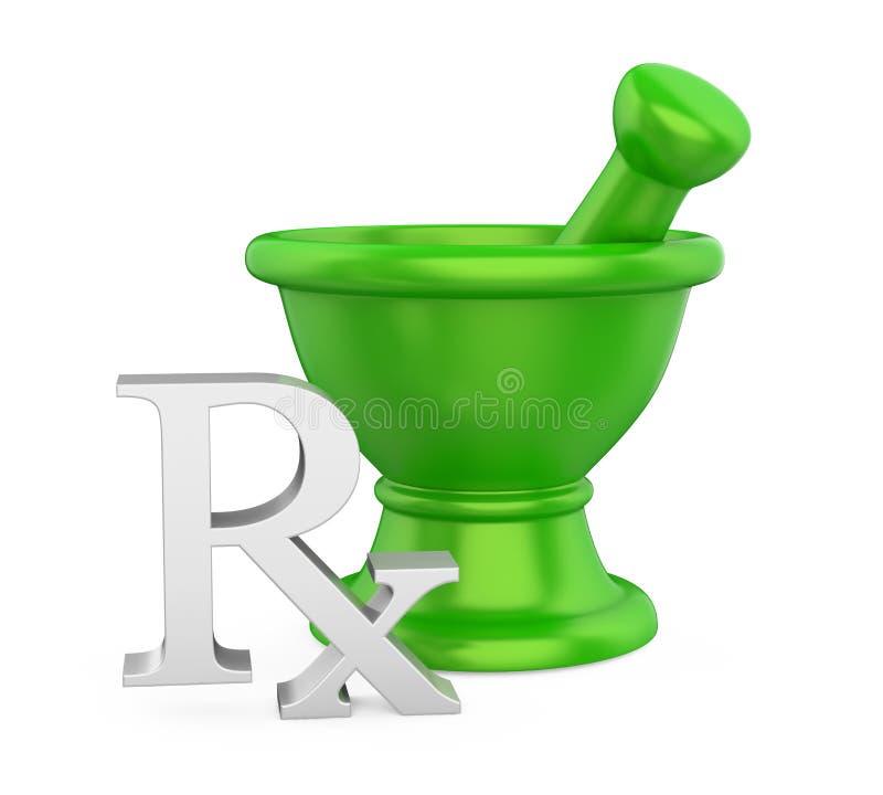 Moździerz i tłuczek z RX medycyny Recepturowym symbolem Odizolowywającym ilustracji
