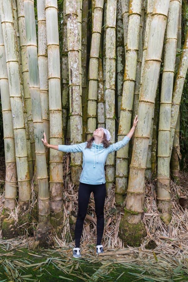 Moça à moda que levanta contra uma árvore de bambu no parque, descansando fotos de stock royalty free
