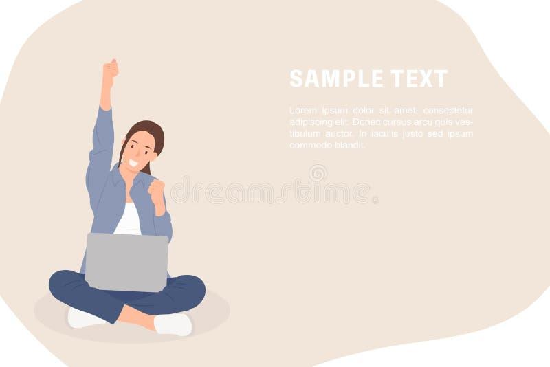 Moça alegre do molde da bandeira do projeto de caráter dos povos dos desenhos animados que senta-se em um assoalho com um portáti ilustração do vetor