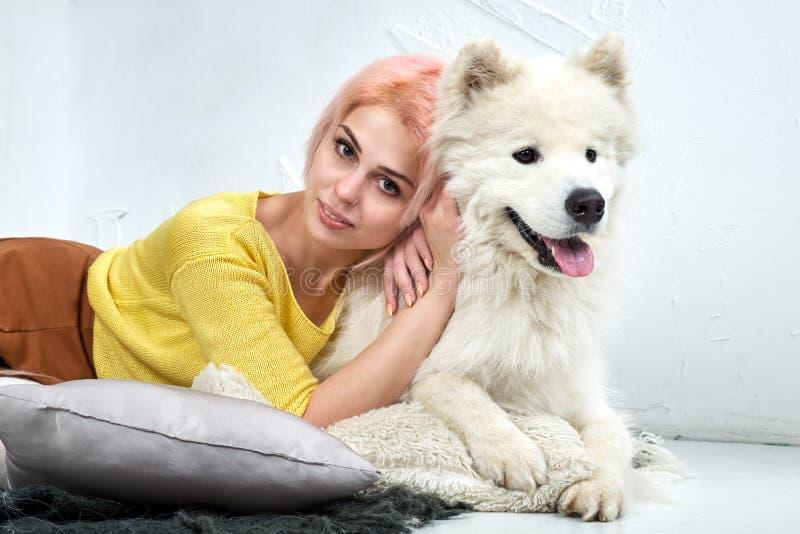 Moça atrativa com seu Samoyed do animal de estimação que levanta o encontro no assoalho branco Retrato do estúdio com tons mornos foto de stock