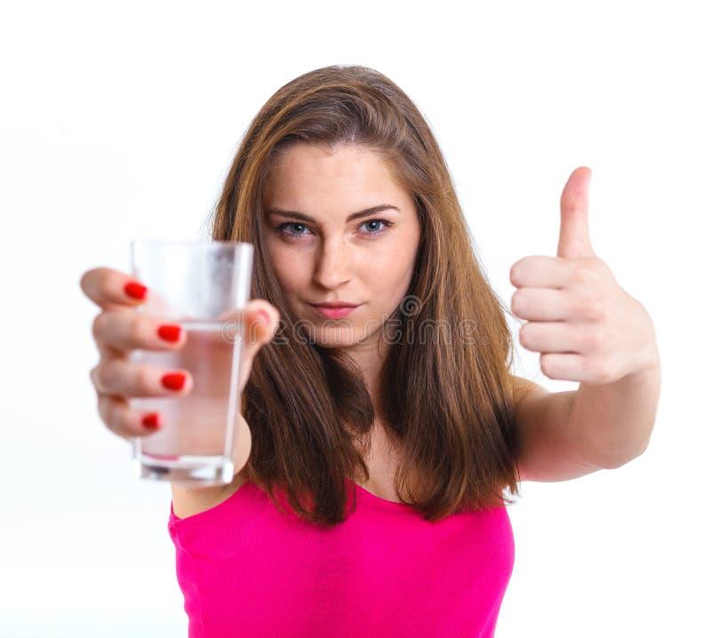 A moça bebe a água fotos de stock royalty free