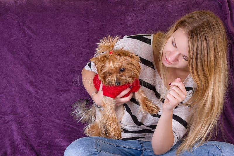 Moça bonita alegre que tem o divertimento com cão imagem de stock royalty free