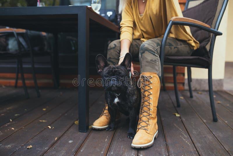 Moça bonita com seu cão no parque do outono imagens de stock royalty free