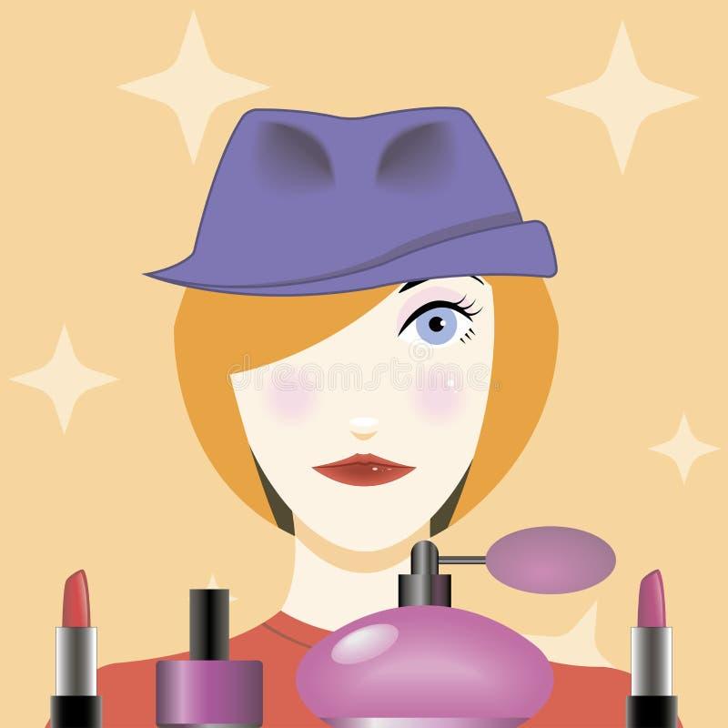 Moça bonita com um chapéu em sua cabeça ilustração stock
