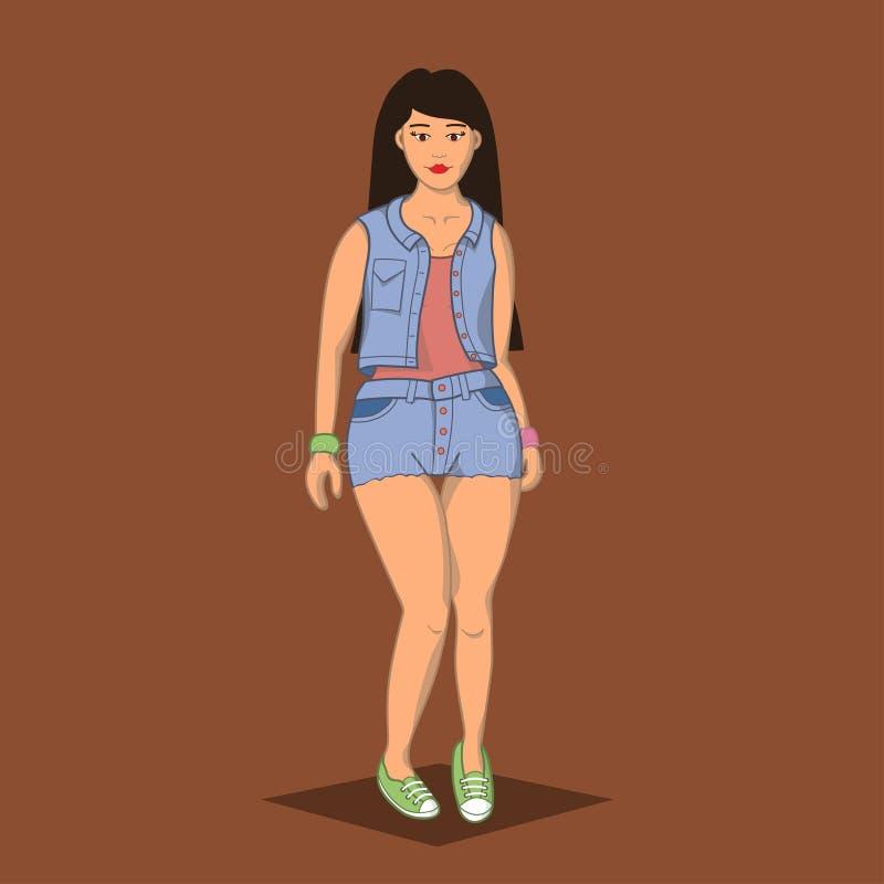 Moça bonita dos desenhos animados da ilustração no terno da sarja de Nimes e nas sapatilhas verdes imagens de stock