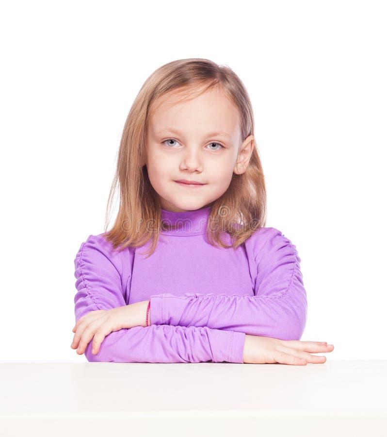 Moça bonita em um fundo branco fotografia de stock