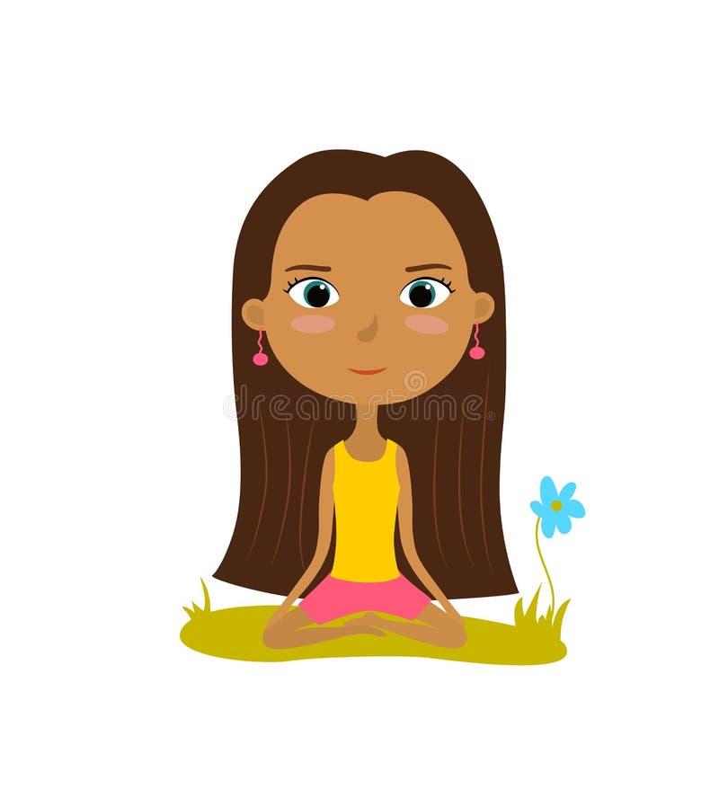A moça bonita pratica a ioga na posição de lótus Cartaz da meditação e do abrandamento Ilustração do vetor ilustração royalty free