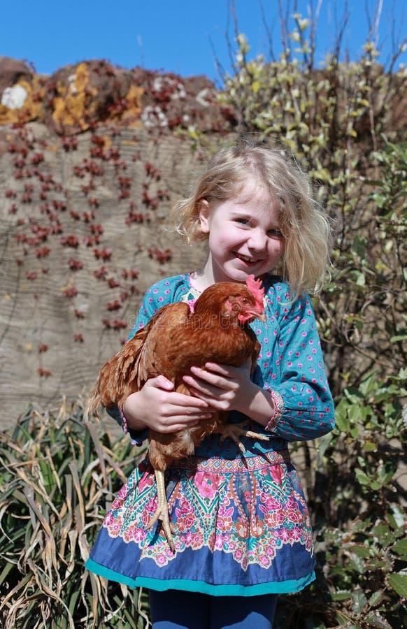 Moça bonita que guarda uma galinha marrom imagem de stock