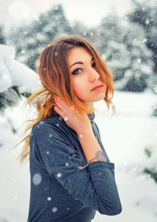 Moça bonita que levanta no inverno nevado na floresta fria fotografia de stock royalty free