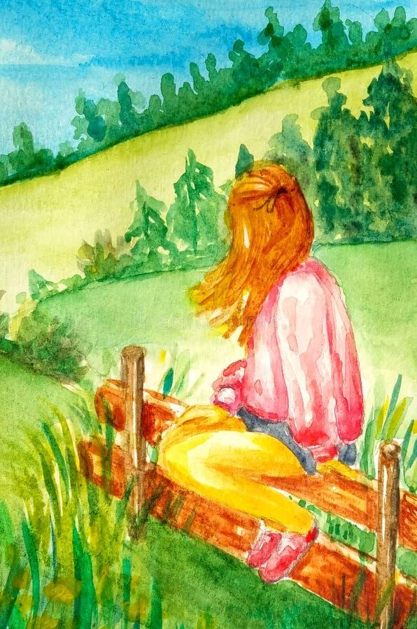 A moça bonita senta-se na cerca e nos olhares na paisagem e nas montanhas rurais, campos, florestas ilustração do vetor