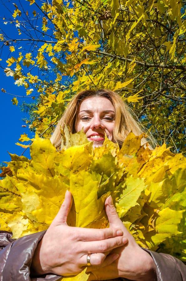 A moça bonita uma mulher feliz que sorri e que guarda as folhas de bordo amarelas que andam no outono estaciona imagens de stock royalty free