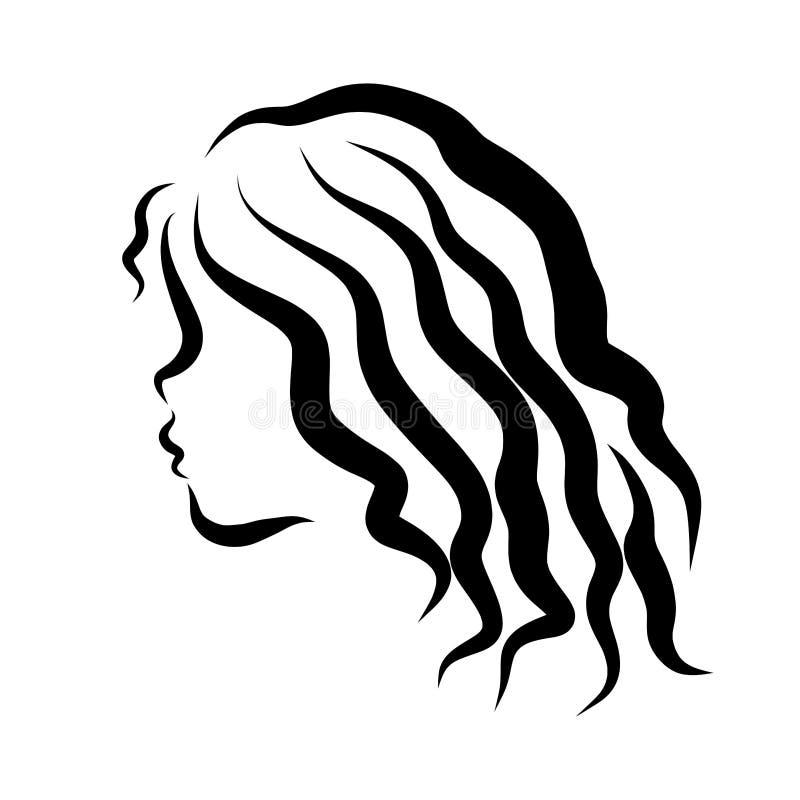 Moça com cabelo ondulado longo, esboço preto, perfil ilustração royalty free