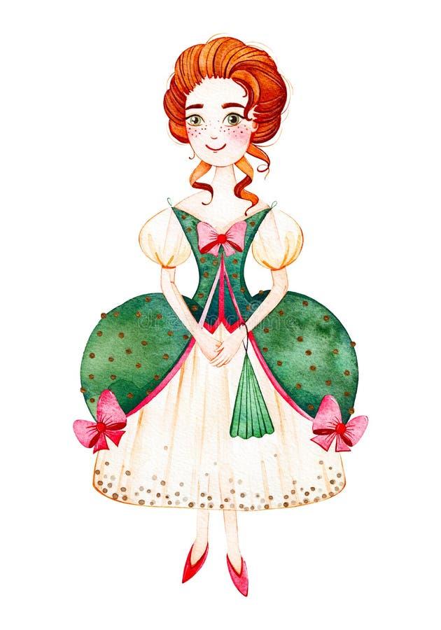 A moça com rococós denomina o fã verde do vestido e da mão ilustração do vetor