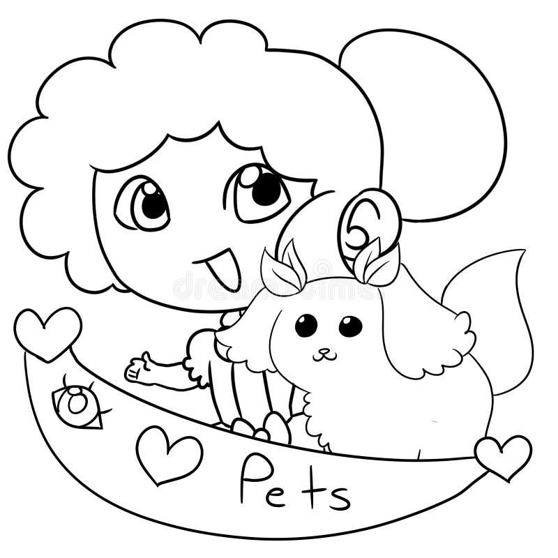 Moça com um animal de estimação ilustração stock