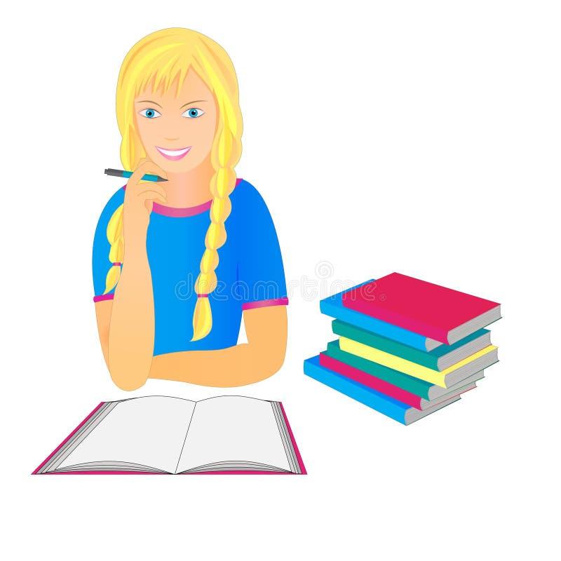 Moça com um caderno e uma pilha dos livros ilustração do vetor