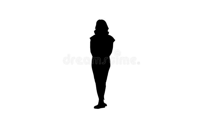 Moça da silhueta que escuta algo atentamente ilustração royalty free